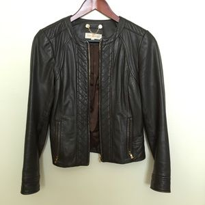 TORY BURCH chocolate brown classic leather jacket